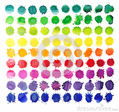 Free 90 Colorful Watercolor Splashes Isolated On White Background. Stock Photos - 53880483