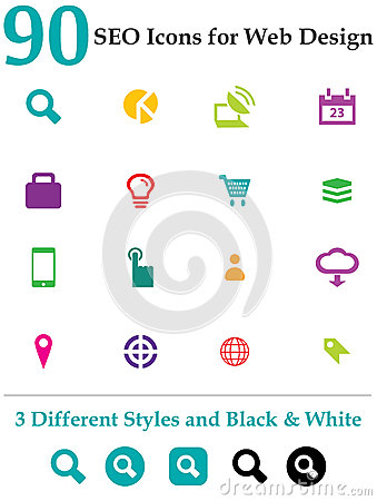 Free 90 Seo Icons For Web Design Royalty Free Stock Photography - 29186217
