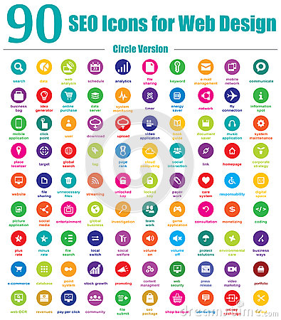 Free 90 SEO Icons For Web Design - Circle Version Stock Image - 29808751