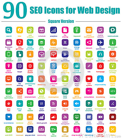 Free 90 SEO Icons For Web Design - Square Version Stock Photos - 29808753