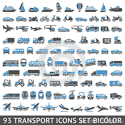 Free 93 Transport Icons Set Blue And Gray Stock Images - 33659604