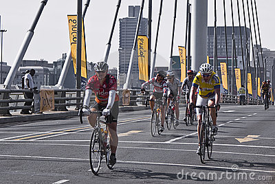 94.7 Cycle Challenge Riders On Mandela Bridge Editorial Photo
