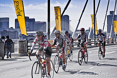 94.7 Cycle Challenge Riders On Mandela Bridge Editorial Image