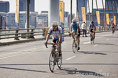 94.7 Cycle Challenge Riders On Mandela Bridge Royalty Free Stock Photography - Image: 22553177