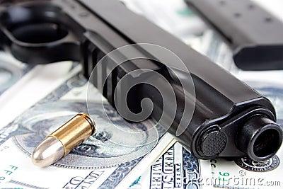 9mm bullet and gun closeup