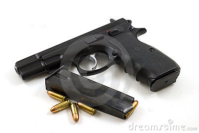 9mm With Clip and Four Bullets