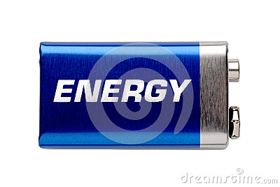 9V battery isolated on white with sign energy