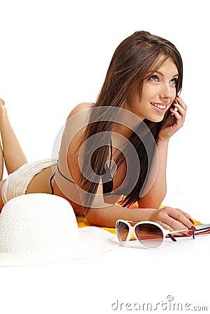 Free A Beautiful Girl In Bikini Layin Royalty Free Stock Images - 5447609