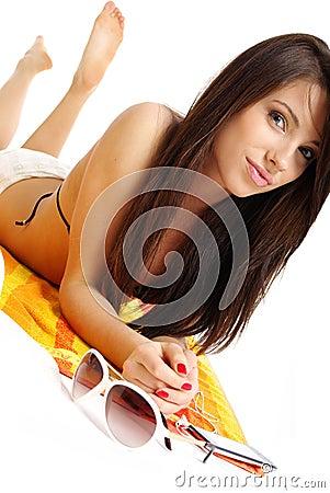 Free A Beautiful Girl In Bikini Layin Royalty Free Stock Photos - 5447648