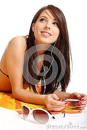 Free A Beautiful Girl In Bikini Layin Royalty Free Stock Images - 5447659