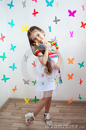 Free A Beautiful Little Girl In Bright Dress Stock Photo - 38726570