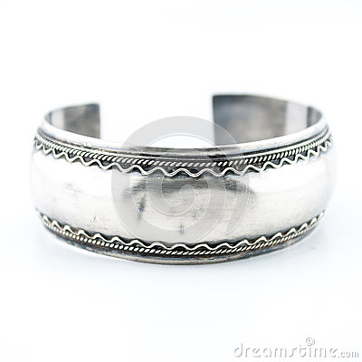 Free A Beautiful Ornate Old Silver Bracelet Stock Photography - 31902342