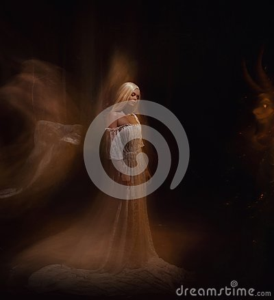 Free A Beauty And A Monster Of Darkness. Ariadne And The Minotaur. The Girl Is Blonde, Like A Ghost, In A White Vintage Dress Stock Photo - 115529820
