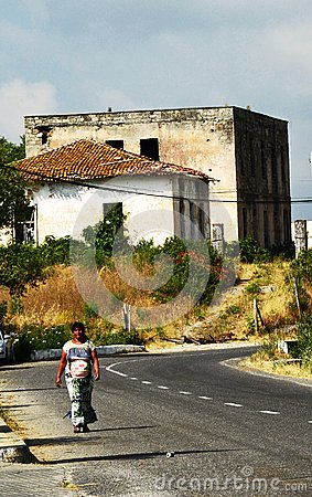 Free A Beggar Woman On The Border Between Montenegro And Albania Royalty Free Stock Images - 109615829