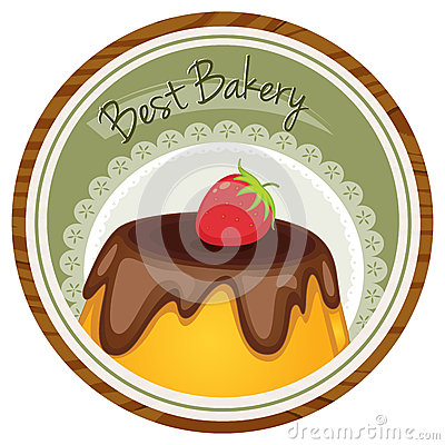 Free A Best Bakery Label With A Cake And A Strawberry Royalty Free Stock Image - 37729136