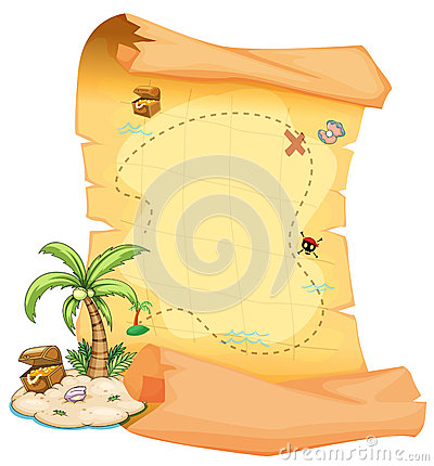 Free A Big Treasure Map And An Island Royalty Free Stock Photo - 34134225