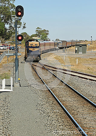 Free A Blue And Yellow Victorian Railways T-class Vintage Train And Carriages Approaches Clunes Railway Station Stock Photo - 69564930
