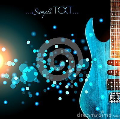 Free A Blue Guitar Against A Dark Glitter Background. Stock Image - 63287591