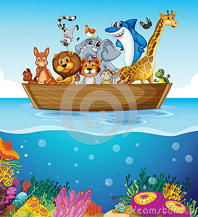 Free A Boat At The Sea With Animals Stock Images - 43523954