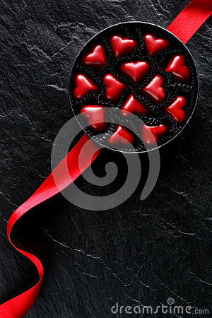 Free A Box Of Chocolates In The Shape Of Hearts, The Perfect Gift For Valentine`s Day, Top View Stock Photo - 85238380