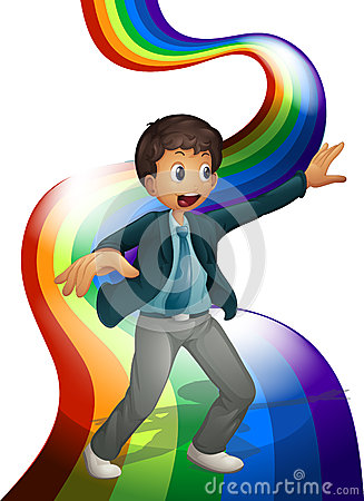 Free A Boy Dancing Above The Rainbow Royalty Free Stock Photo - 37071845