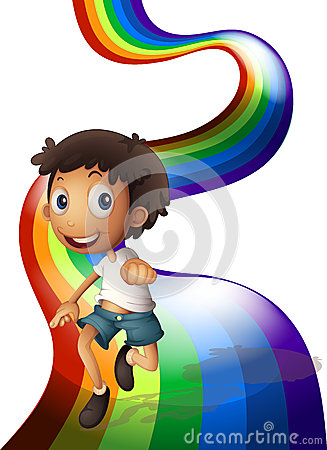 Free A Boy Dancing Above The Rainbow Stock Images - 37891684