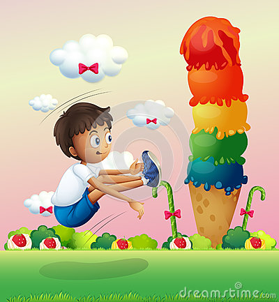 Free A Boy Exercising Near The Giant Ice Cream Royalty Free Stock Photo - 32521515
