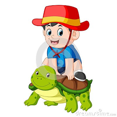 Free A Boy Is Sitting On A Big Turtle Royalty Free Stock Photo - 130520135