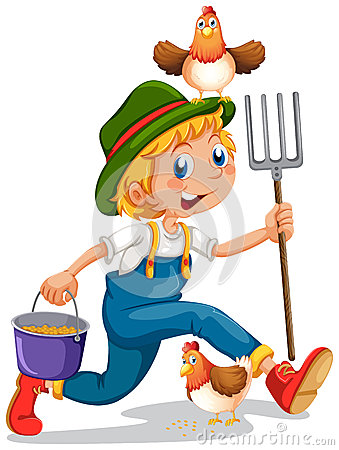 Free A Boy Running With A Pail Of Feeds And A Rake Stock Images - 40741654