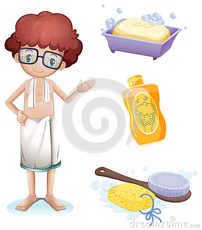 Free A Boy With A Soap, Shampoo, Brush And Sponge Royalty Free Stock Photo - 33315145