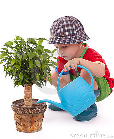 Free A Boy With A Watering-can Stock Photo - 21679390