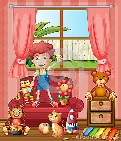 Free A Boy With His Cat And Toys Stock Photo - 30697700
