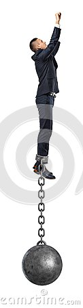 Free A Businessman Take A Superhero Jump In The Air With An Iron Ball Still Attached To His Ankle With A Solid Chain. Stock Photo - 100045550