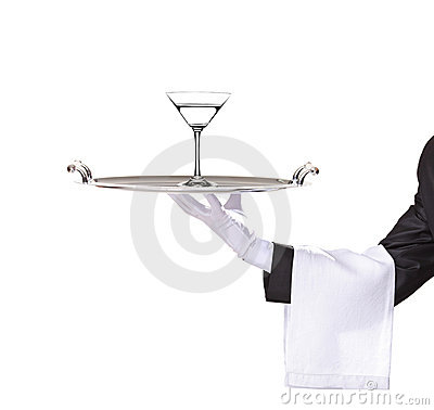 Free A Butler Holding A Tray With Cocktail On It Stock Image - 13511951