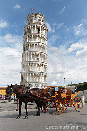Free A Cab Waits In Front Of The Tower Of Pisa Stock Photos - 59937053