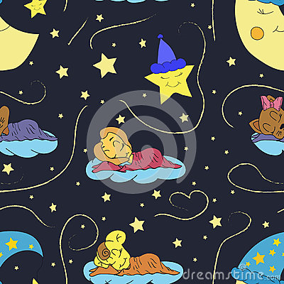Free A Cartoon Illustration Of Seamless Pattern Hand Drawing Of A Smiling Moon, The Stars And The Sleeping Child. Suitable For Interior Royalty Free Stock Images - 64877619