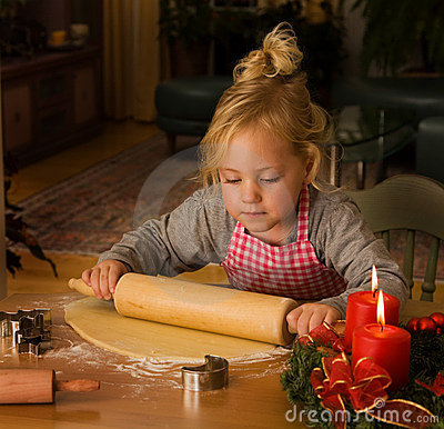 Free A Child At Christmas In Advent When Baking Cookies Royalty Free Stock Photos - 7307888