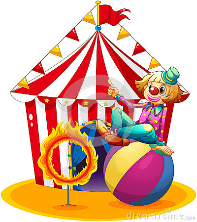 Free A Clown Sitting Above A Ball Beside A Ring Of Fire In Front Of Royalty Free Stock Photo - 32709895