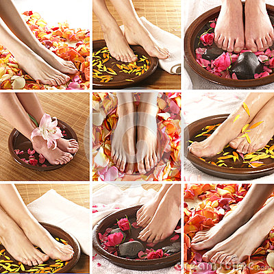 Free A Collage Of Female Feet, Rose Petals And Bowls Royalty Free Stock Image - 25998226