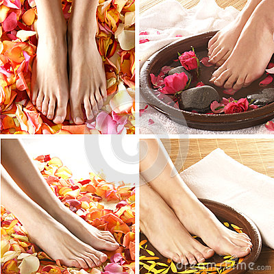 Free A Collage Of Spa Images With Feet And Petals Royalty Free Stock Photos - 26326158