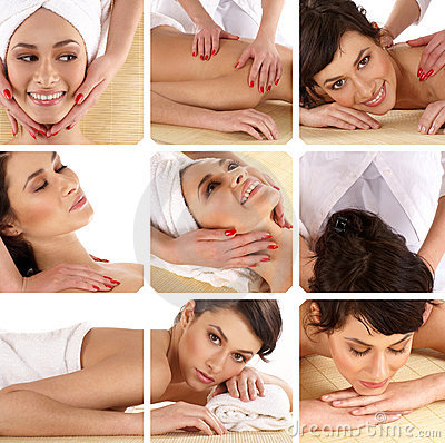 Free A Collage Of Spa Treatment Images With Young Women Royalty Free Stock Image - 14888986