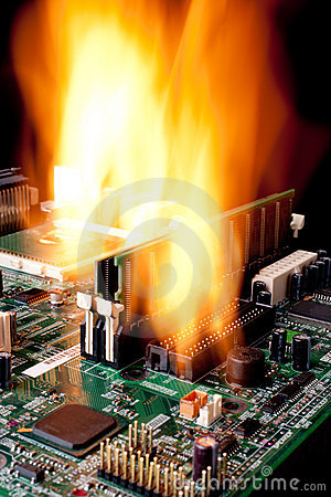 Free A Computer Electronic Mother Board On Fire Stock Image - 18945941
