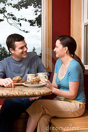 Free A Couple Talking Over Breakfast At Home - Vertical Stock Photos - 5479313