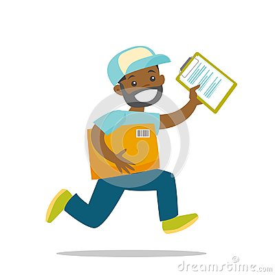 Free A Courier Running To Deliver A Package. Stock Photo - 116230420