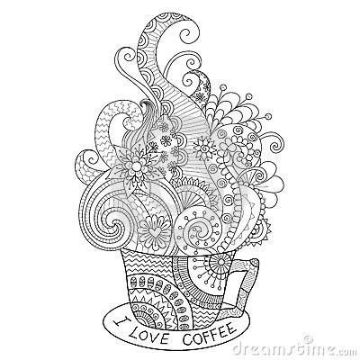 Free A Cup Of Hot Coffee Zentangle Design For Coloring Book For Adult Royalty Free Stock Image - 64067626
