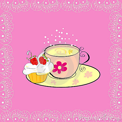 Free A Cup Of Tea With Cupcake Royalty Free Stock Image - 13117656