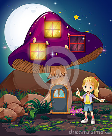 Free A Cute Girl Standing Beside The Magical Mushroom House Stock Photography - 32941222