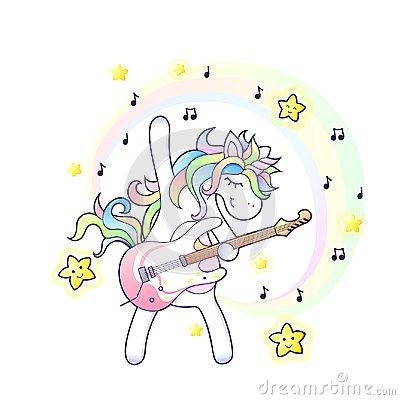 Free A Cute Unicorn With An Electro Guitar Royalty Free Stock Images - 121765409
