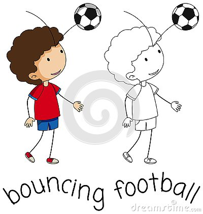 Free A Doodle Boy Bouncing Football Royalty Free Stock Photos - 130369648