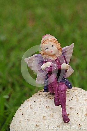 Free A Fairy Figurine On A Mushroom In The Garden Royalty Free Stock Images - 106221709